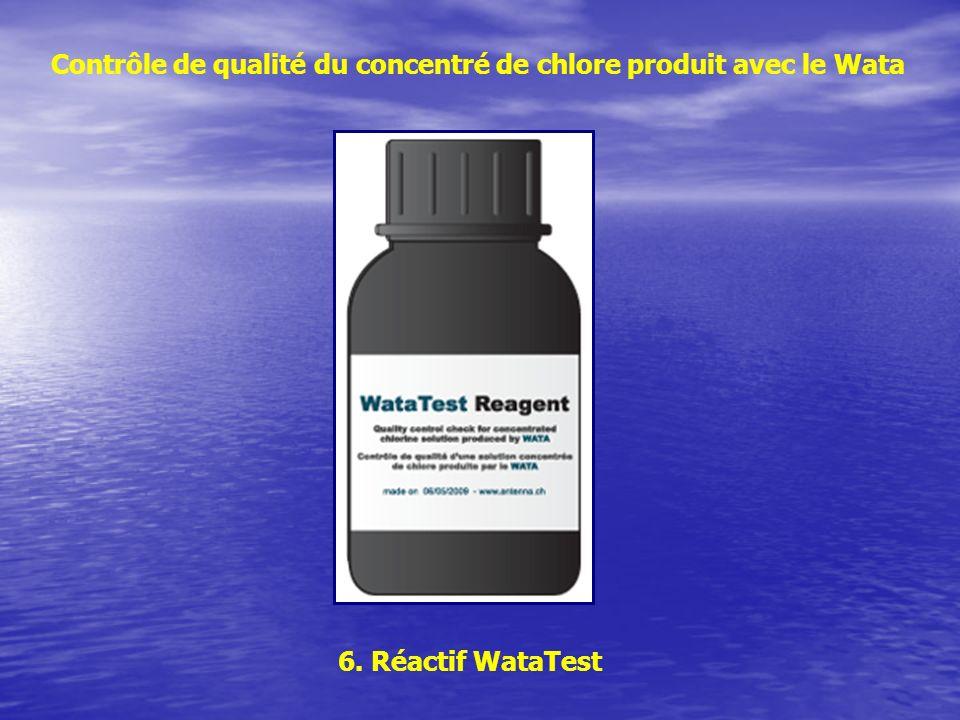 Contrôle de qualité du concentré de chlore produit avec le Wata