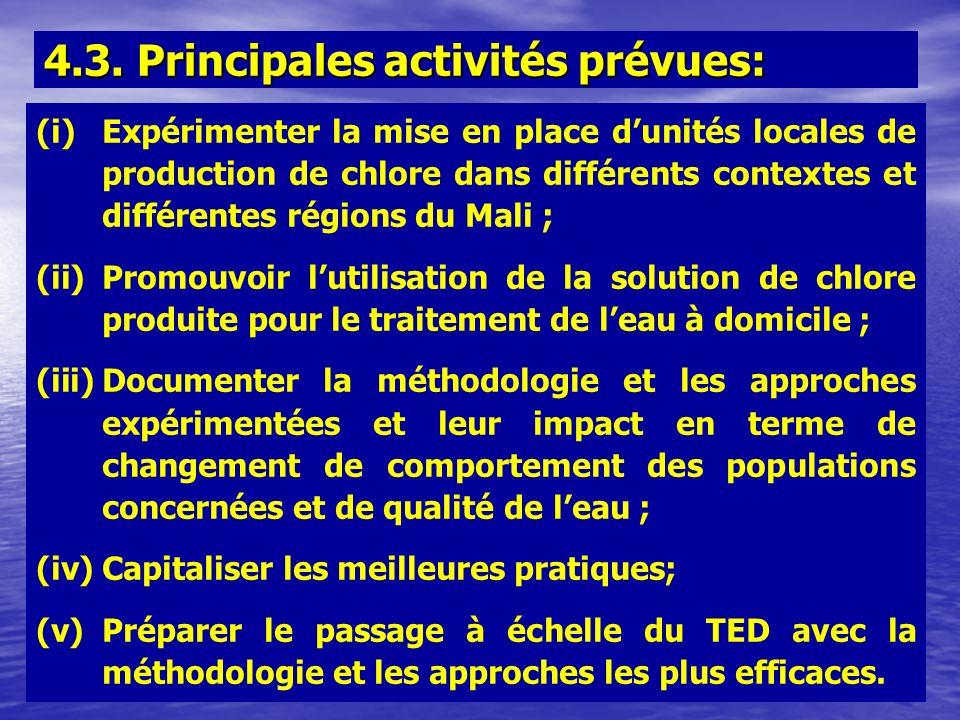 4.3. Principales activités prévues: