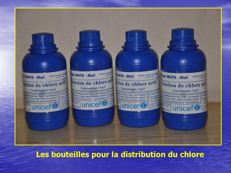 Les bouteilles pour la distribution du chlore