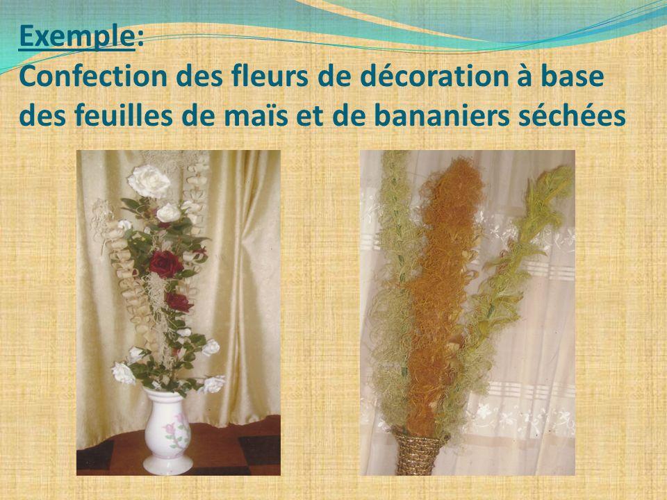 Exemple: Confection des fleurs de décoration à base des feuilles de maïs et de bananiers séchées