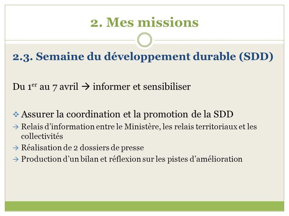 2. Mes missions 2.3. Semaine du développement durable (SDD)
