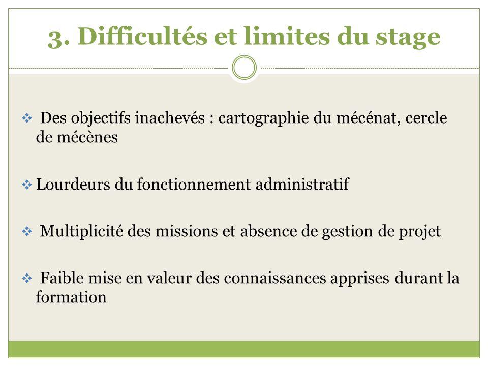 3. Difficultés et limites du stage