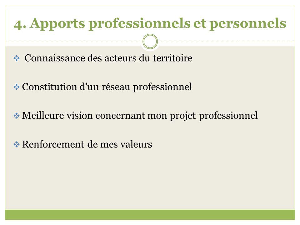 4. Apports professionnels et personnels