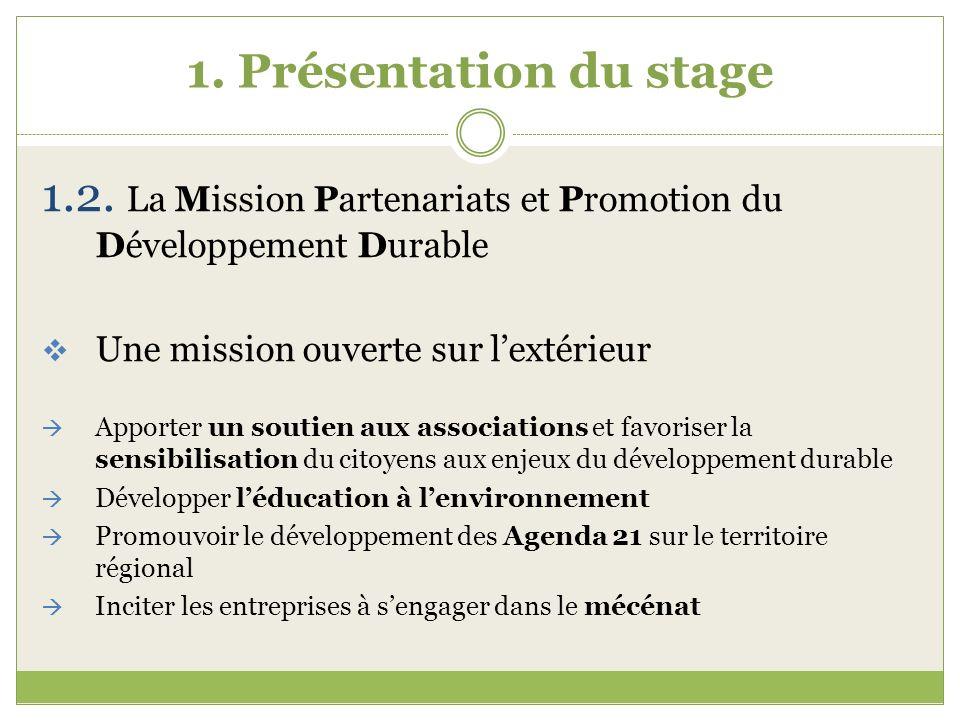 1.2. La Mission Partenariats et Promotion du Développement Durable