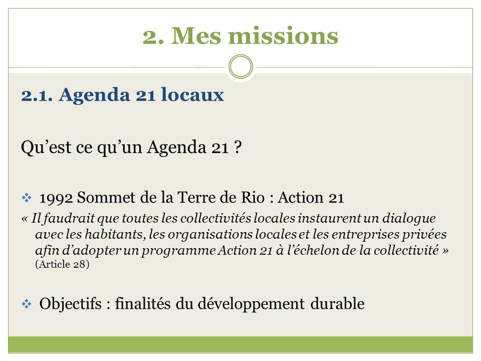 2. Mes missions 2.1. Agenda 21 locaux Qu'est ce qu'un Agenda 21