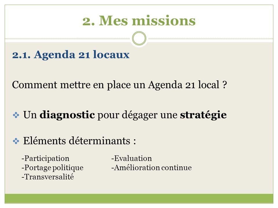 2. Mes missions 2.1. Agenda 21 locaux