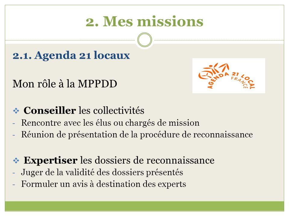2. Mes missions 2.1. Agenda 21 locaux Mon rôle à la MPPDD