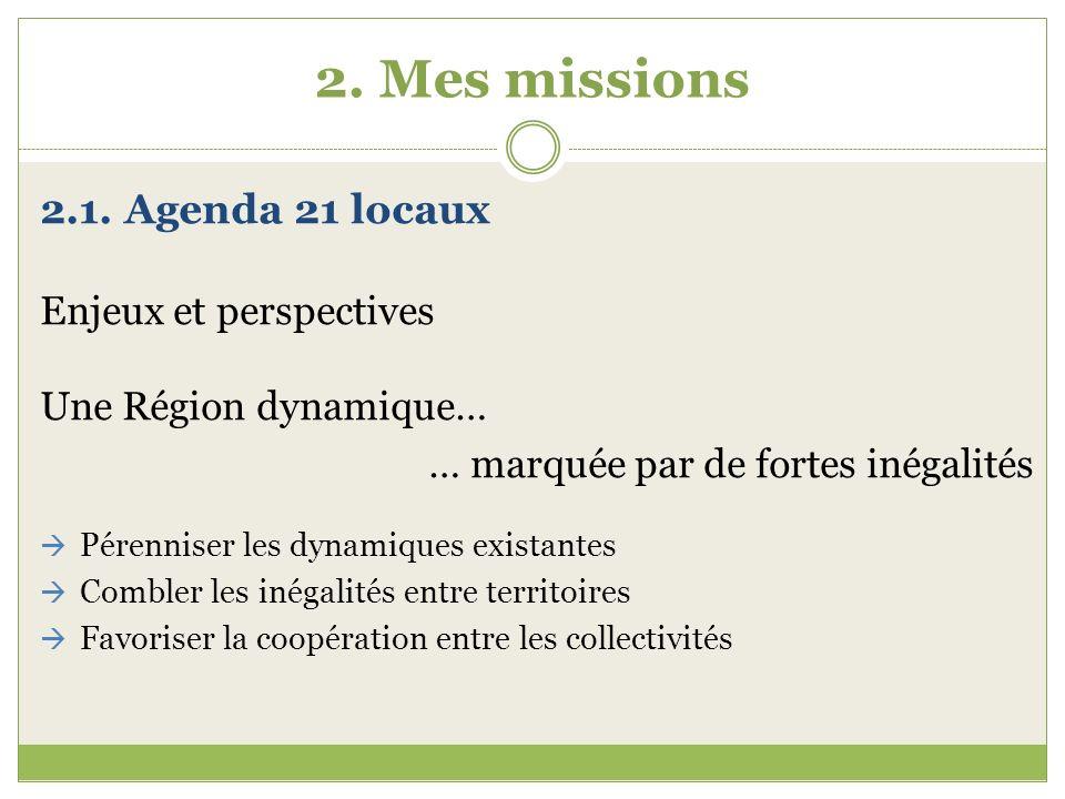 2. Mes missions 2.1. Agenda 21 locaux Enjeux et perspectives