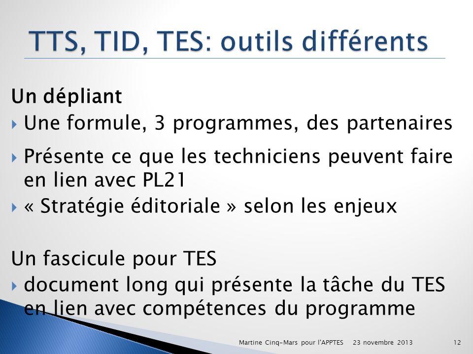 TTS, TID, TES: outils différents