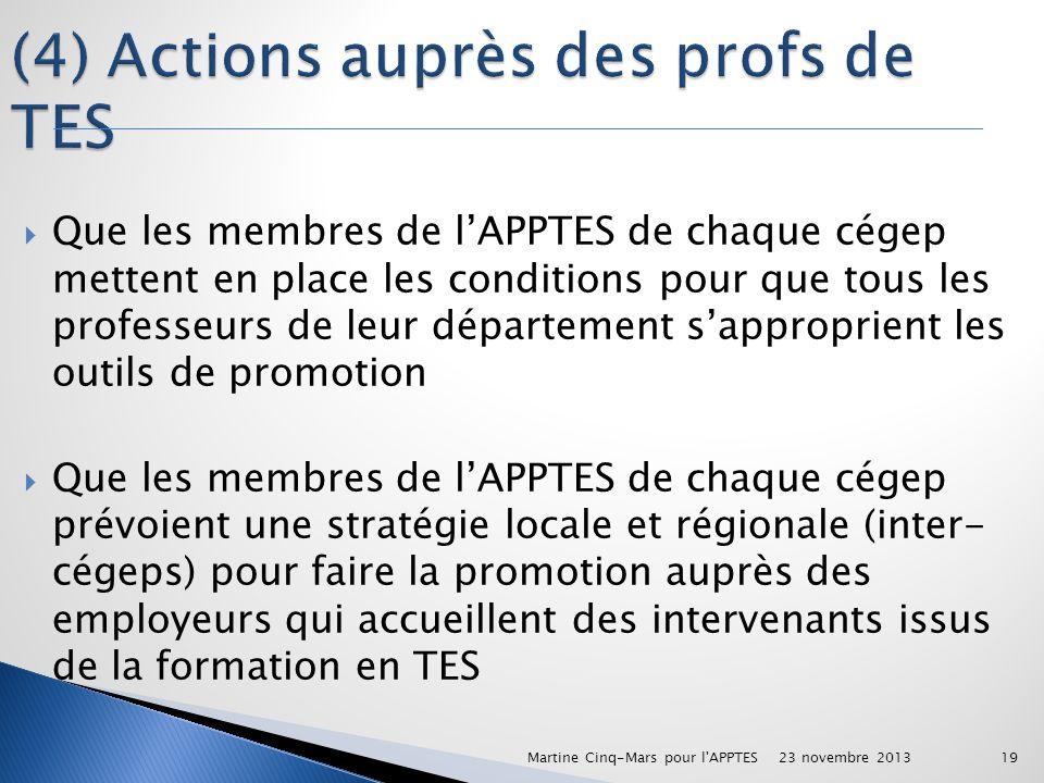 (4) Actions auprès des profs de TES