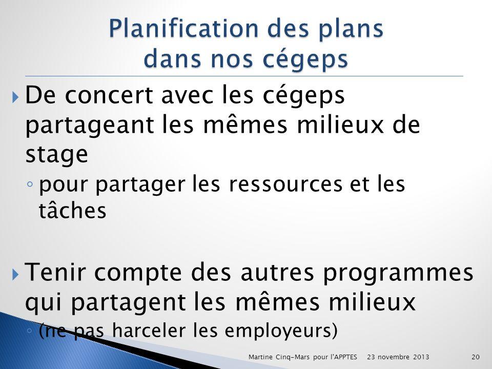 Planification des plans dans nos cégeps
