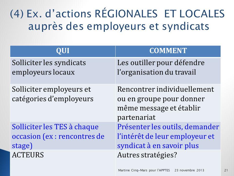 (4) Ex. d'actions RÉGIONALES ET LOCALES auprès des employeurs et syndicats