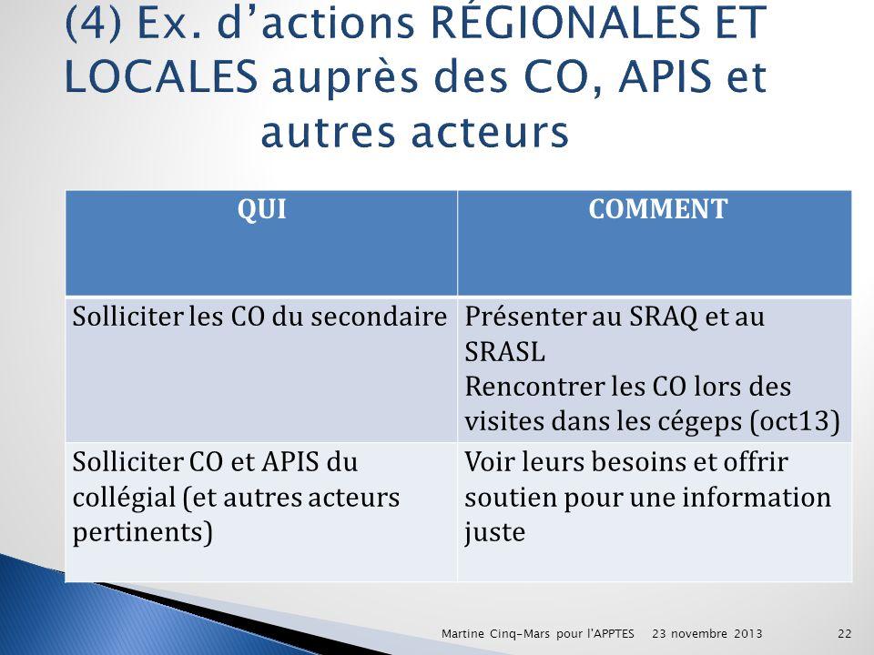 (4) Ex. d'actions RÉGIONALES ET LOCALES auprès des CO, APIS et autres acteurs