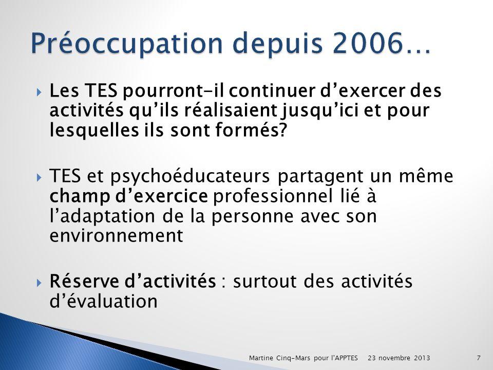 Préoccupation depuis 2006…