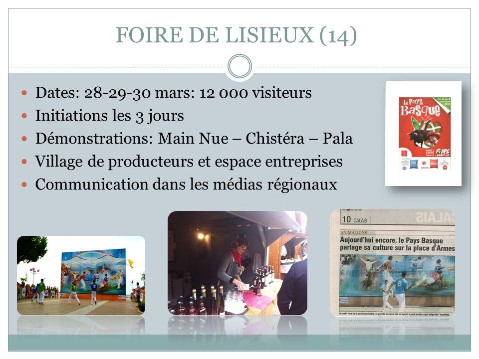 FOIRE DE LISIEUX (14) Dates: 28-29-30 mars: 12 000 visiteurs