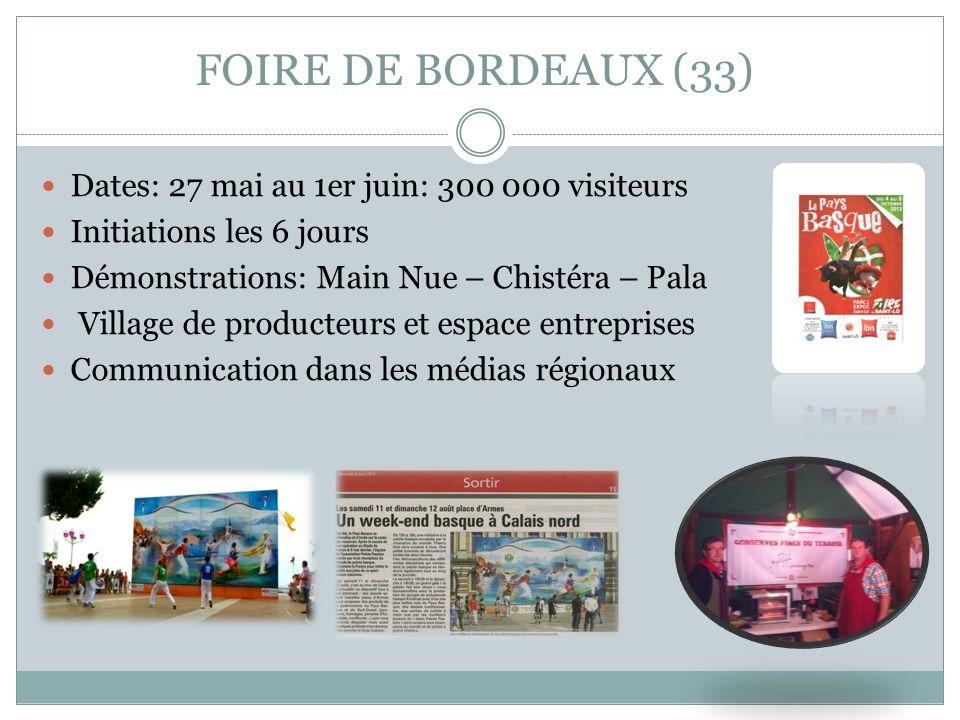 FOIRE DE BORDEAUX (33) Dates: 27 mai au 1er juin: 300 000 visiteurs