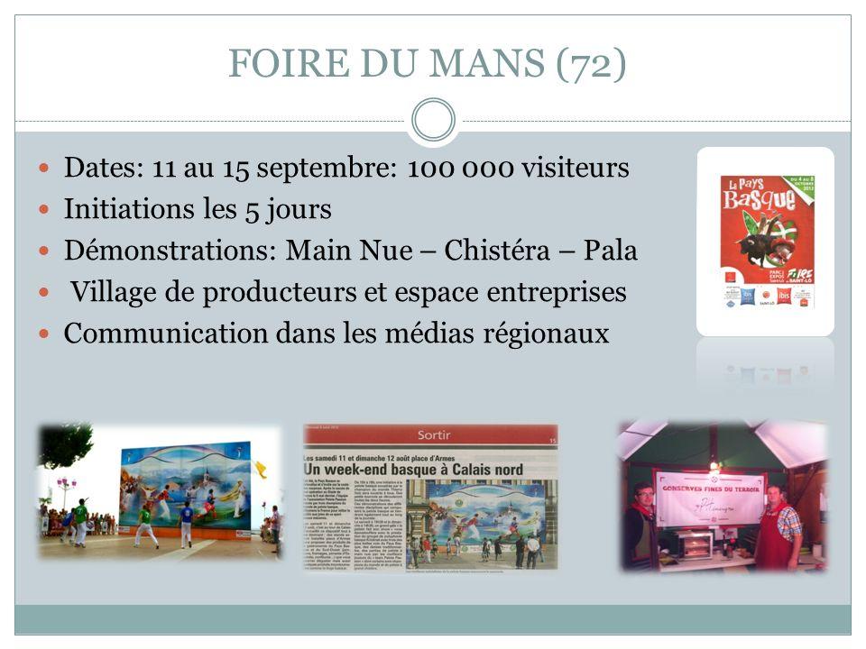 FOIRE DU MANS (72) Dates: 11 au 15 septembre: 100 000 visiteurs