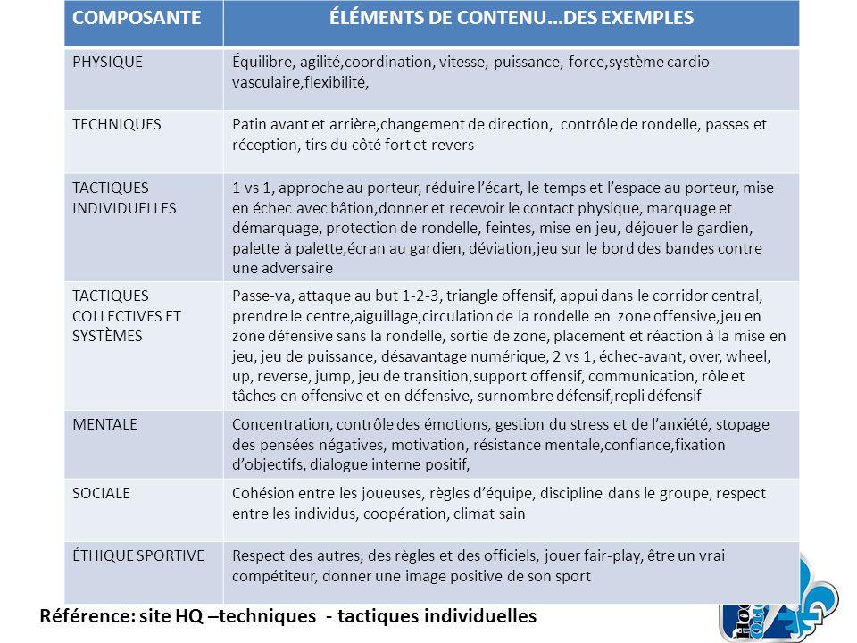 ÉLÉMENTS DE CONTENU...DES EXEMPLES
