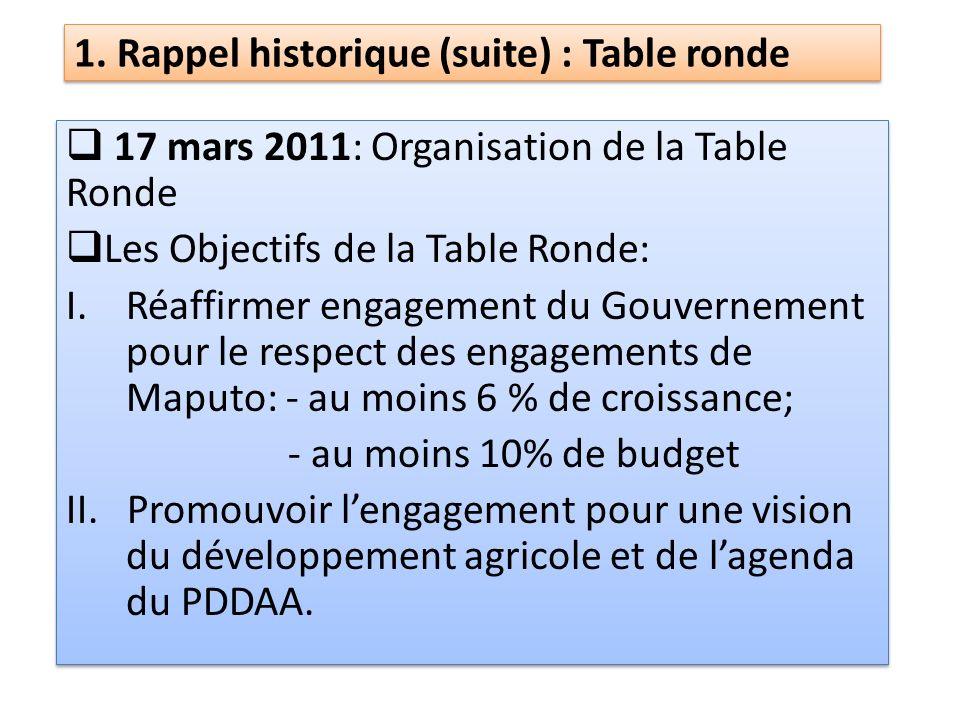1. Rappel historique (suite) : Table ronde