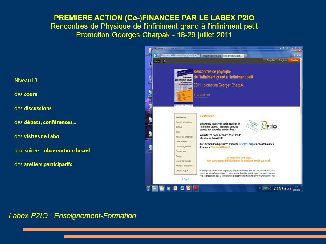 PREMIERE ACTION (Co-)FINANCEE PAR LE LABEX P2IO