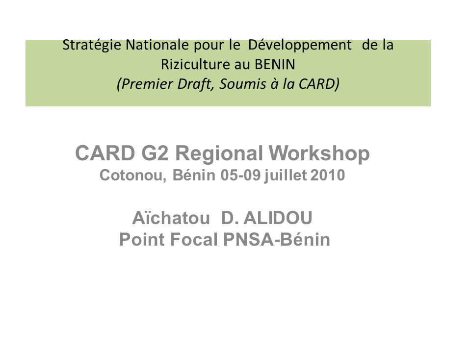 CARD G2 Regional Workshop