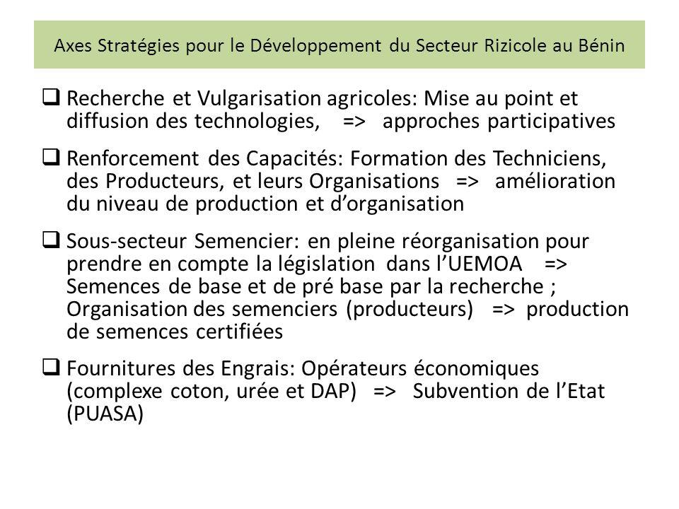 Axes Stratégies pour le Développement du Secteur Rizicole au Bénin