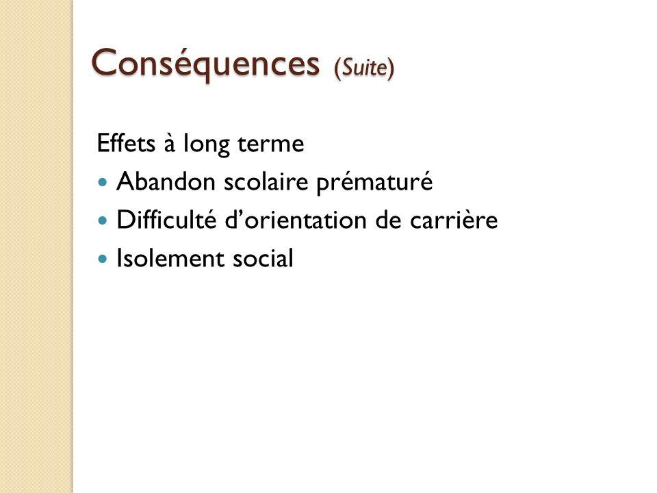 Conséquences (Suite) Effets à long terme Abandon scolaire prématuré