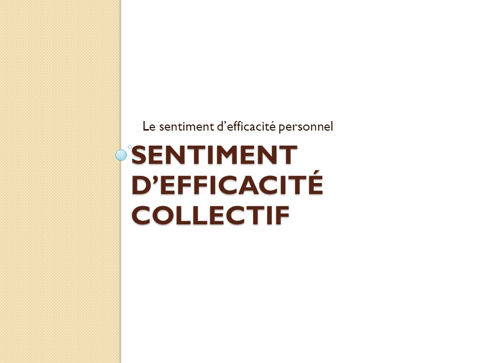 Sentiment d'efficacité collectif