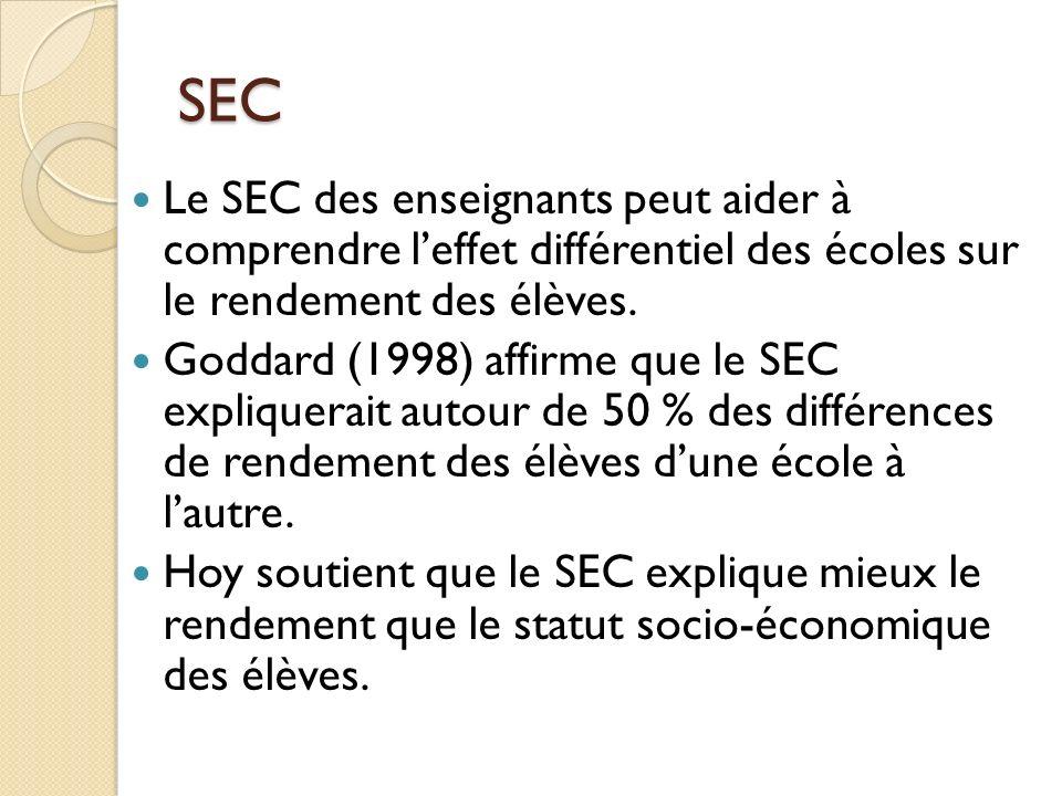 SEC Le SEC des enseignants peut aider à comprendre l'effet différentiel des écoles sur le rendement des élèves.