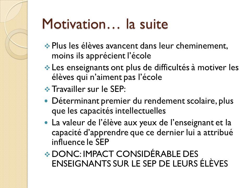 Motivation… la suite Plus les élèves avancent dans leur cheminement, moins ils apprécient l'école.