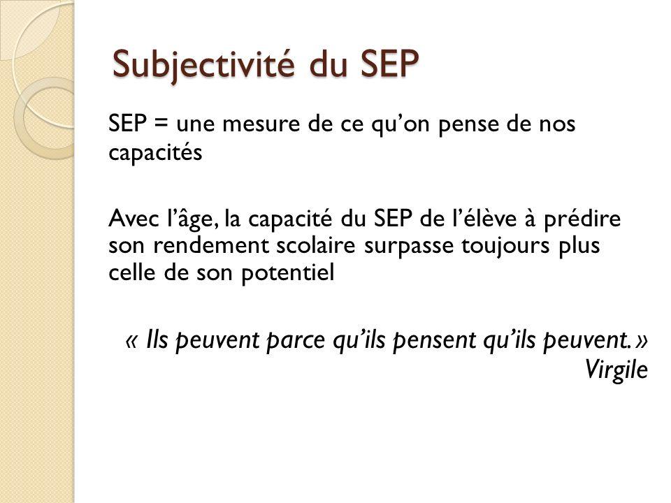 Subjectivité du SEP SEP = une mesure de ce qu'on pense de nos capacités.