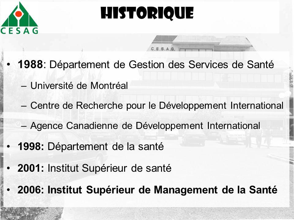 historique 1988: Département de Gestion des Services de Santé
