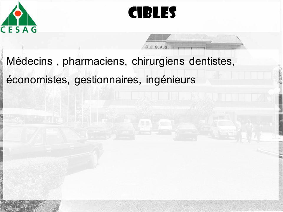 Cibles Médecins , pharmaciens, chirurgiens dentistes, économistes, gestionnaires, ingénieurs