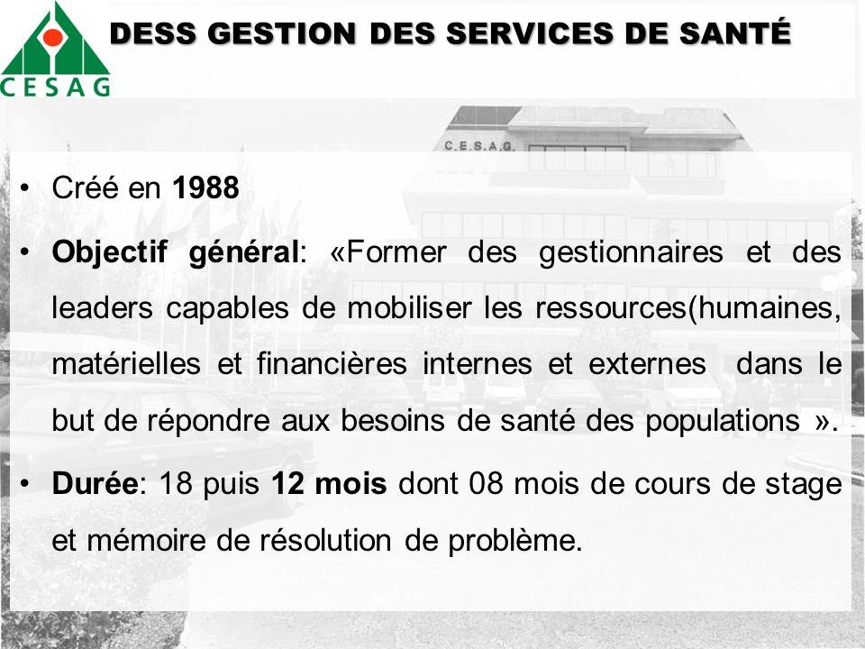 DDESS GESTION DES SERVICES DE SANTÉ