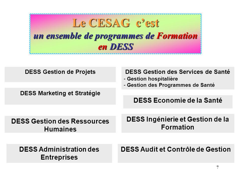 Le CESAG c'est un ensemble de programmes de Formation en DESS
