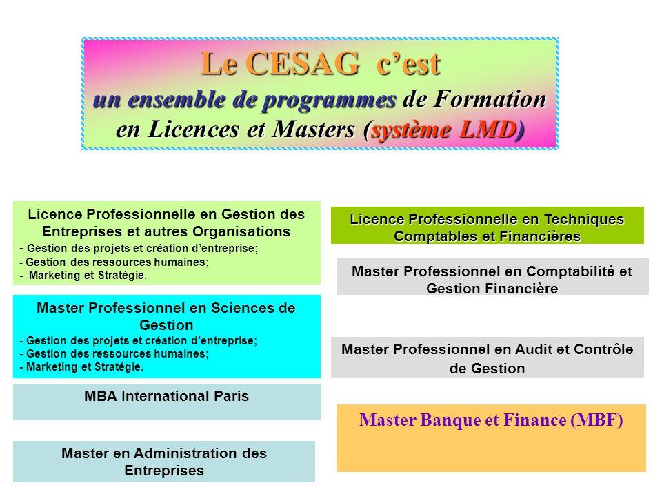 Le CESAG c'est un ensemble de programmes de Formation en Licences et Masters (système LMD)