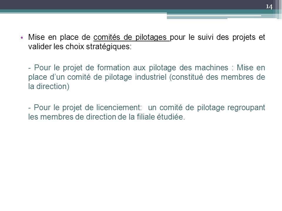 Mise en place de comités de pilotages pour le suivi des projets et valider les choix stratégiques: