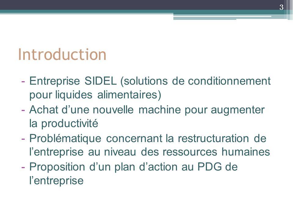 Introduction Entreprise SIDEL (solutions de conditionnement pour liquides alimentaires)