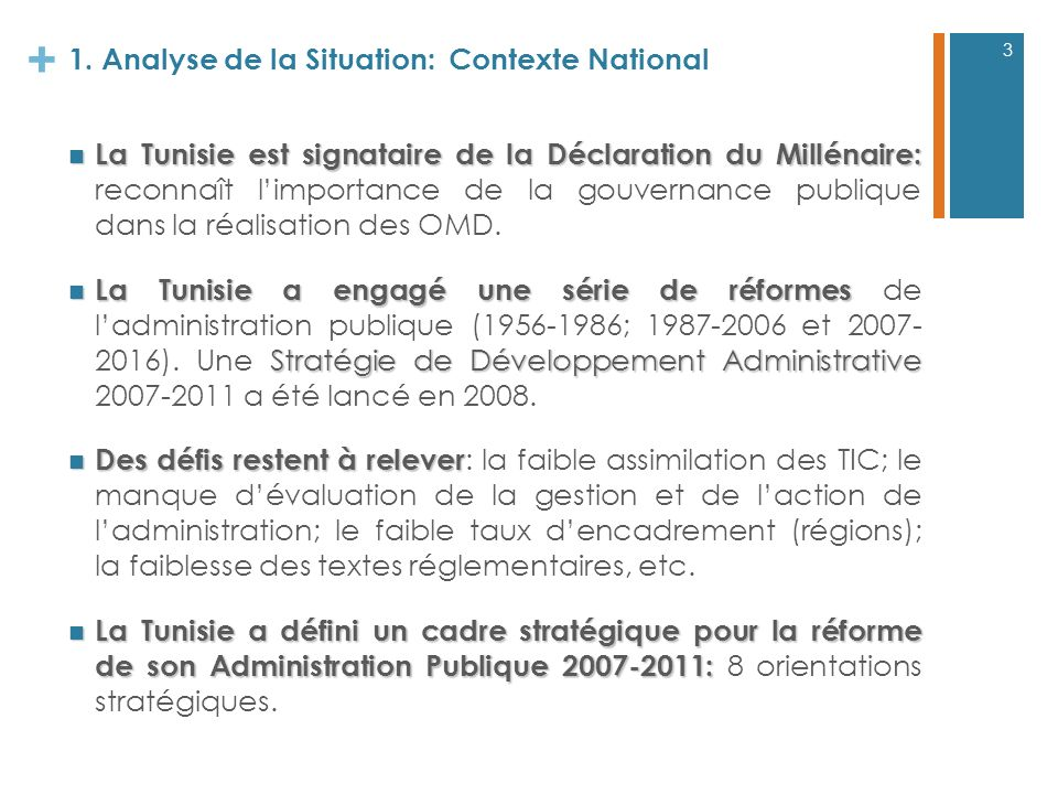 1. Analyse de la Situation: Contexte National