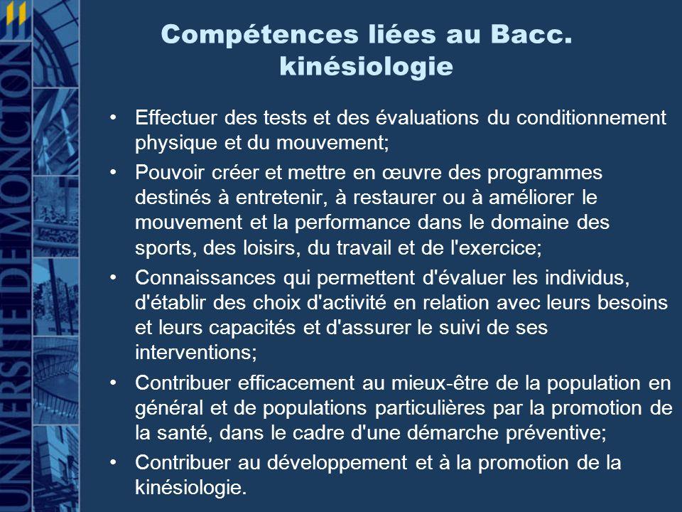 Compétences liées au Bacc. kinésiologie