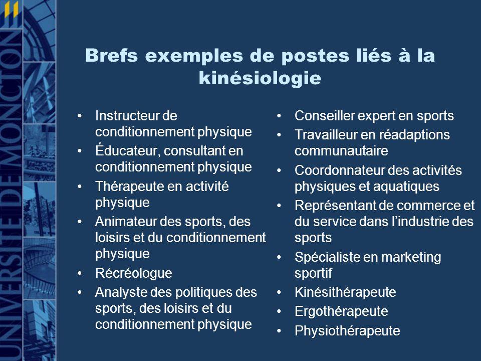 Brefs exemples de postes liés à la kinésiologie