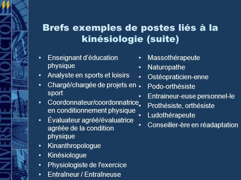 Brefs exemples de postes liés à la kinésiologie (suite)