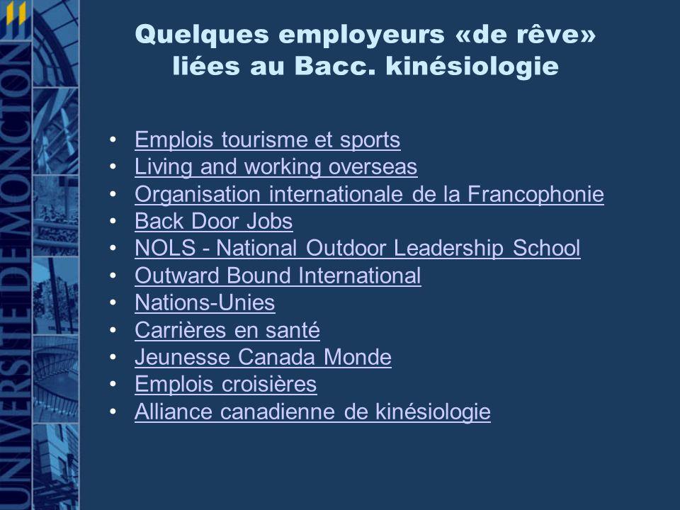 Quelques employeurs «de rêve» liées au Bacc. kinésiologie