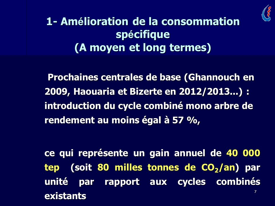 1- Amélioration de la consommation spécifique (A moyen et long termes)