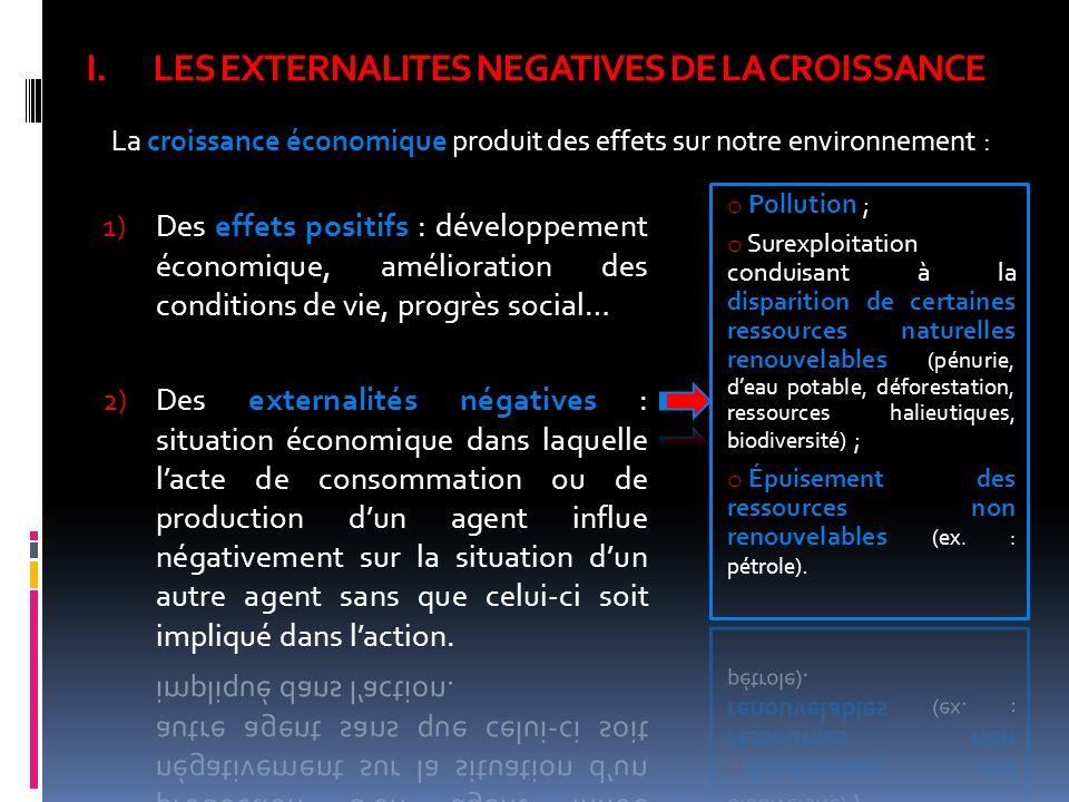 LES EXTERNALITES NEGATIVES DE LA CROISSANCE