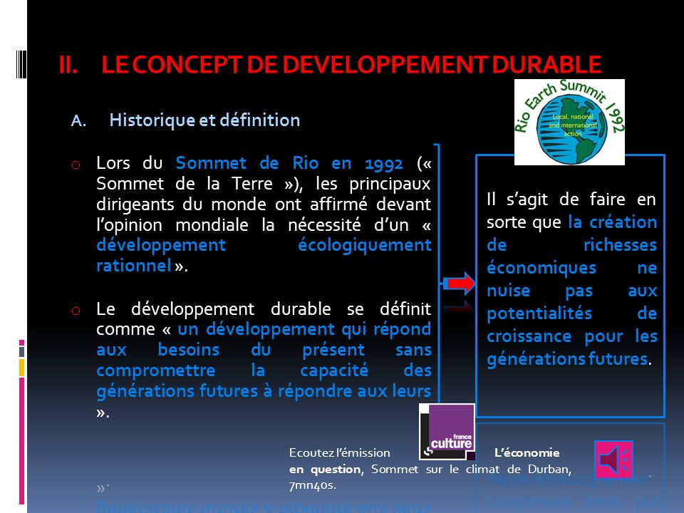 LE CONCEPT DE DEVELOPPEMENT DURABLE