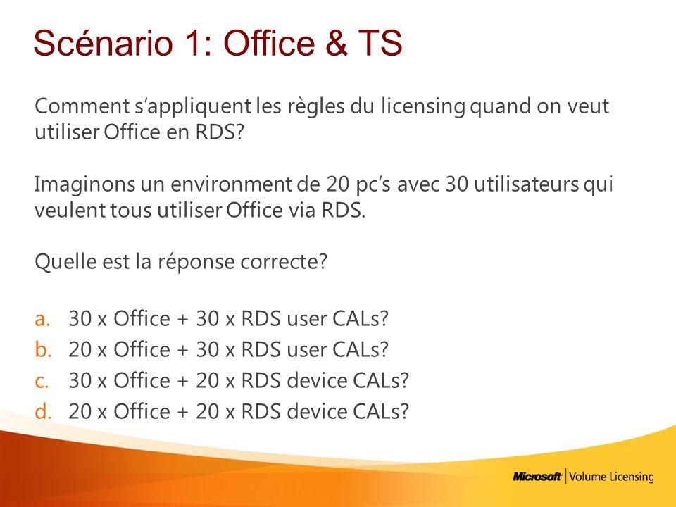 Scénario 1: Office & TS Comment s'appliquent les règles du licensing quand on veut utiliser Office en RDS