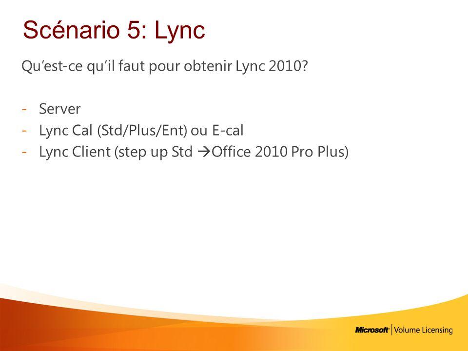 Scénario 5: Lync Qu'est-ce qu'il faut pour obtenir Lync 2010 Server