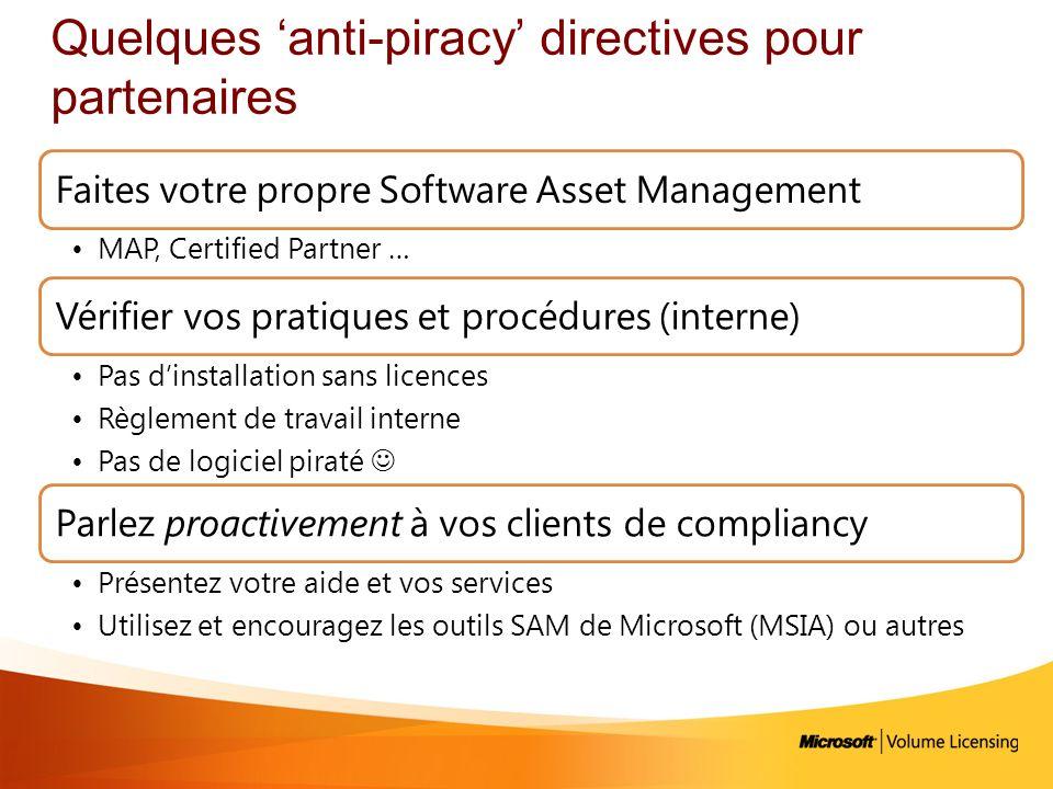 Quelques 'anti-piracy' directives pour partenaires