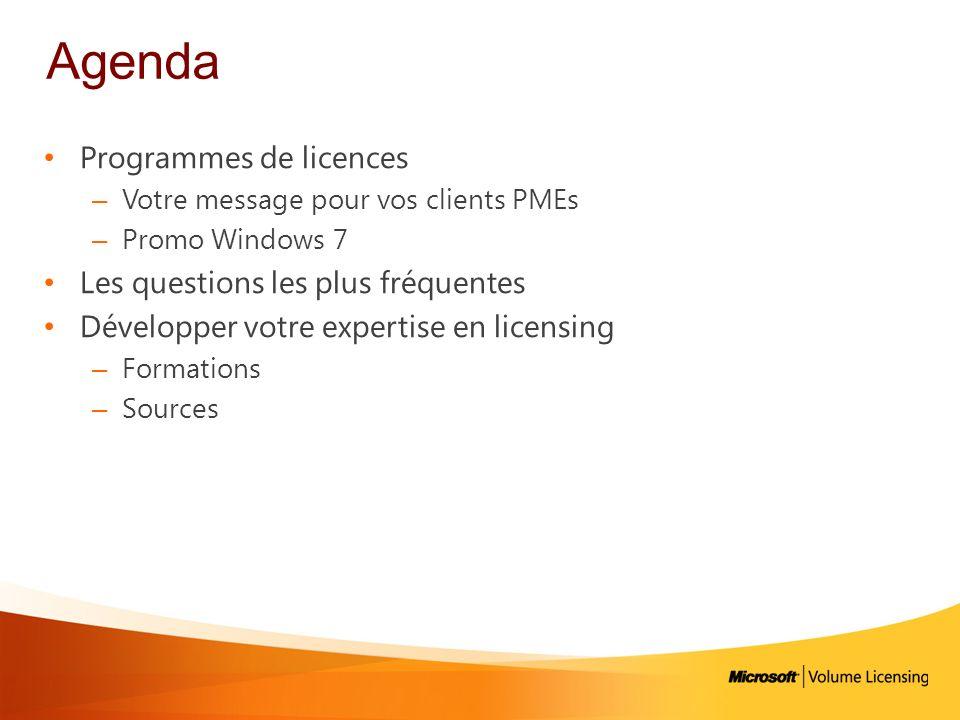 Agenda Programmes de licences Les questions les plus fréquentes